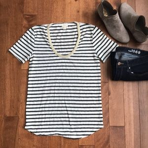 JCrew jeweled neck tee
